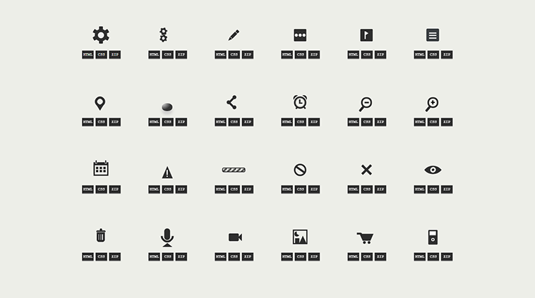 One div - The single element HTML/CSS icon database