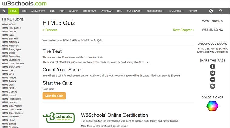 HTML5 Quiz